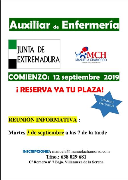 Auxiliar de enfermería de la Junta de Extremadura