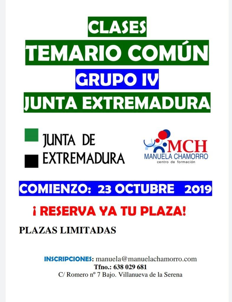 Temario común grupos IV y V Junta de Extremadura